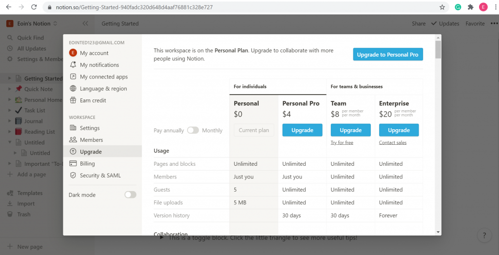 A screenshot of how much it'll cost to use Notion.so