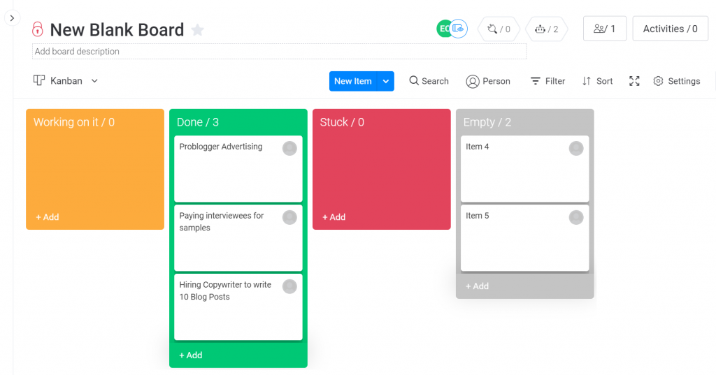 Kanban available with Monday.com