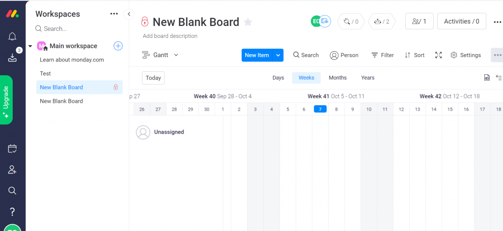 Showing the Gantt chart feature available in Monday.com