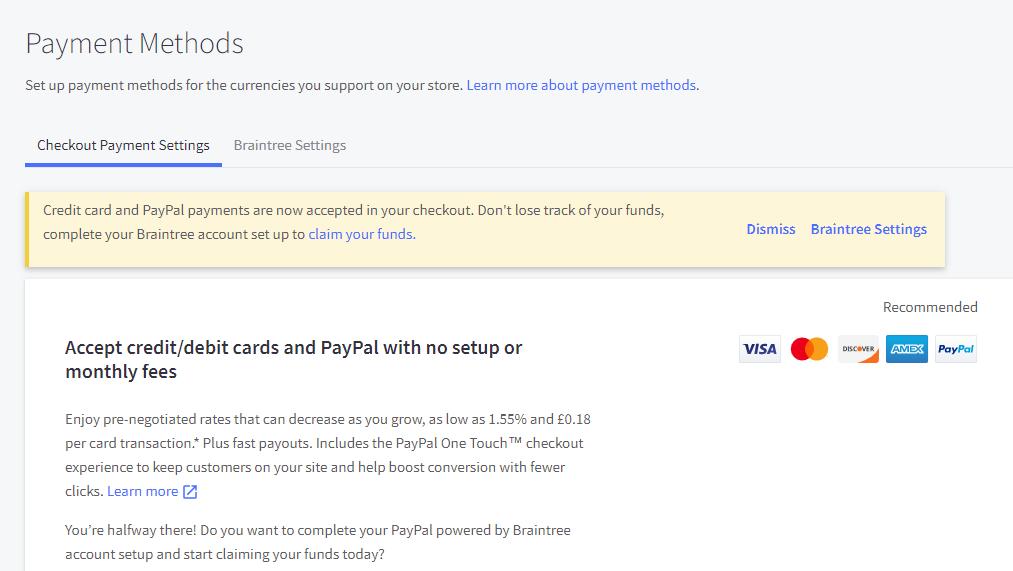 payment methods big commerce