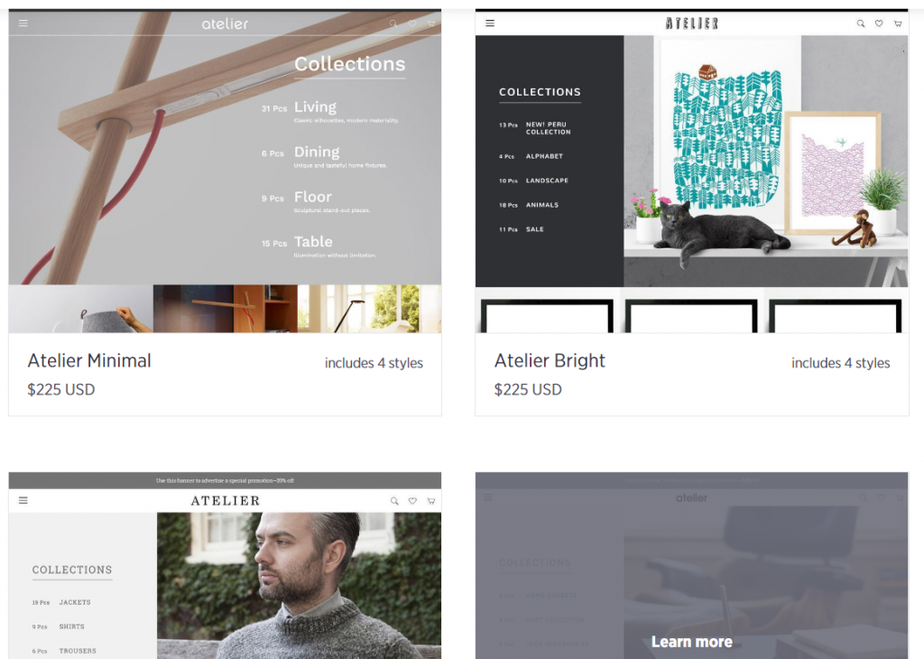 Showing reader the Atelier theme's templates, one of the best bigcommerce themes