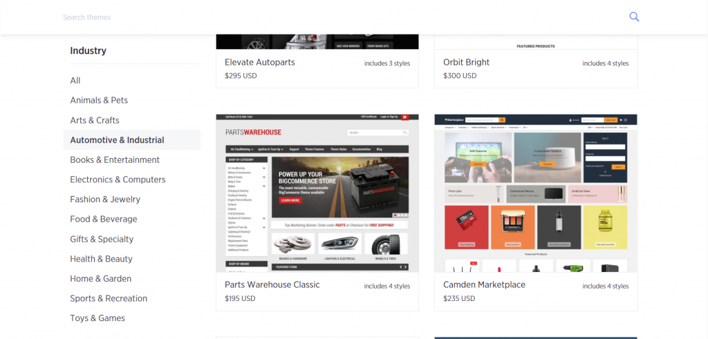 Searching BigCommerce Themes by Industry to find the Best BigCommerce Themes for You