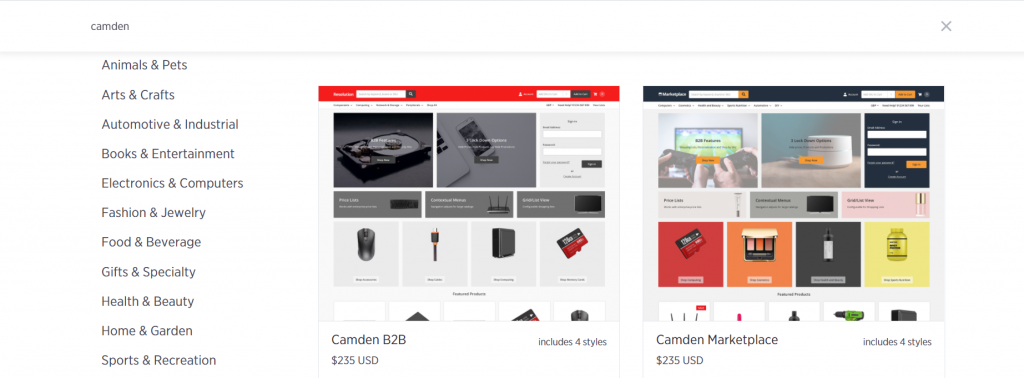 Showing reader the different versions of camden's ecommerce theme which has templates suitable for eCommece marketplace type stores