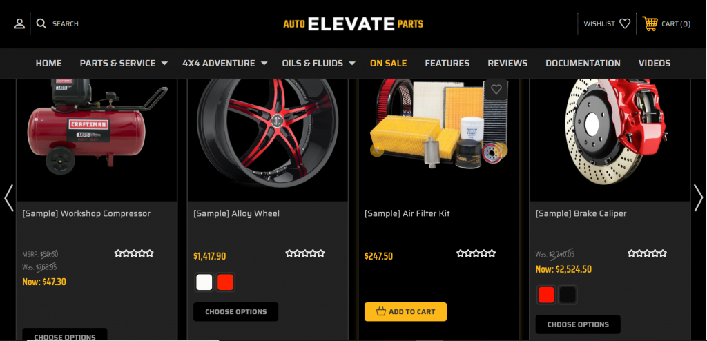 Elevate BigCommerce theme excellent for eCommerce sellers with a large catalogue containing lots of product variations