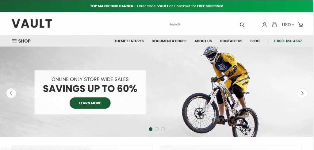 Showing readers what their eCommerce storefront will look like using Vault's free theme templates
