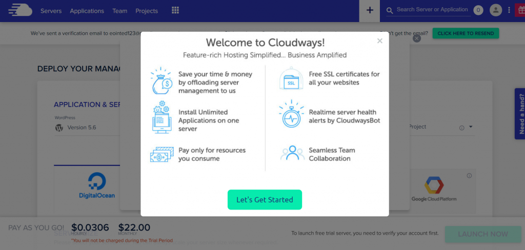 What Cloudways interface is like during onboarding