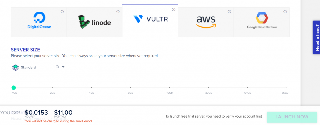 Showing readers that to launch a server with cloudways you must have a paid account