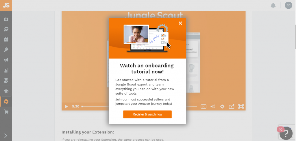 Jungle Scout's Google Chrome Extension during Onboarding