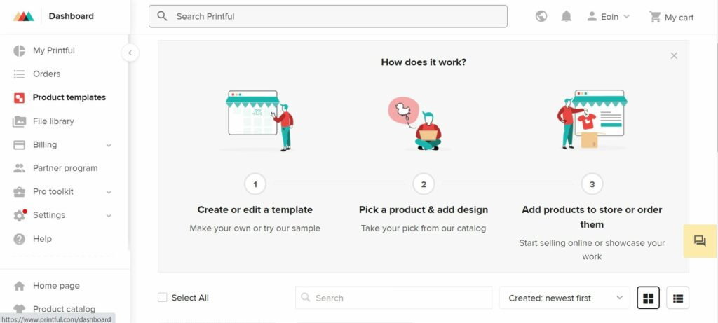 Displaying Printful's product templates