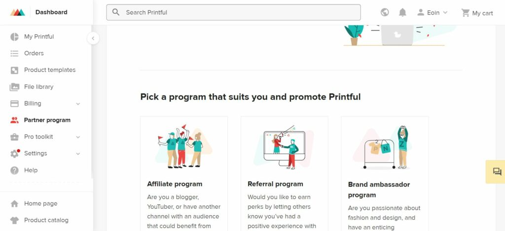 Showcasing Printful's referral programs for affiliate marketers and influencers alike