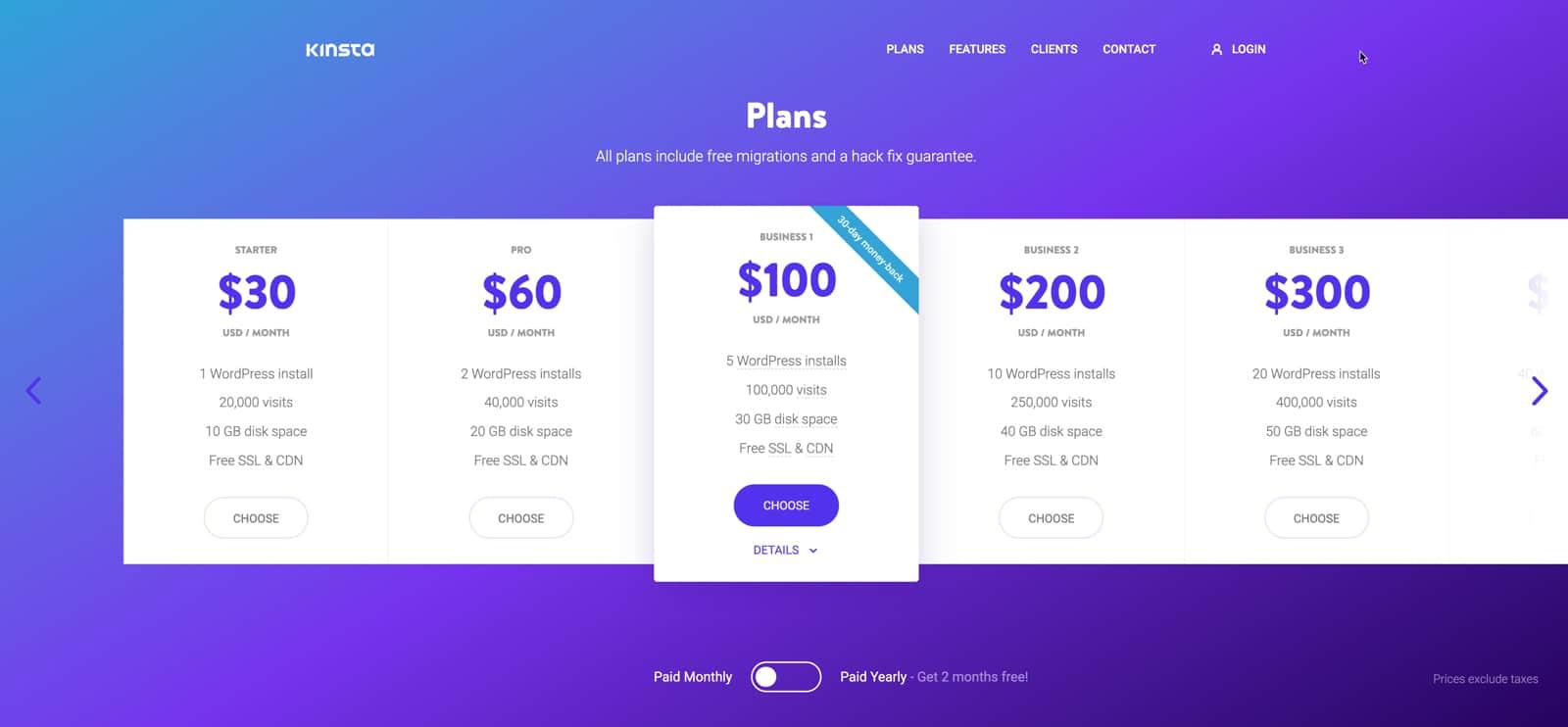 kinsta pricing plans